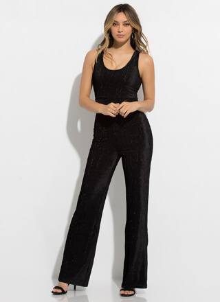 Fancy Me Sparkly Corded Velvet Jumpsuit