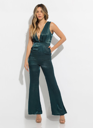 Dressing Up Silky Plunging Jumpsuit