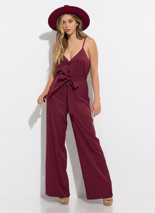 Stylin' Tied Open-Back Palazzo Jumpsuit