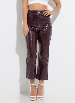 Glossy-Pants Short Faux Patent Trousers