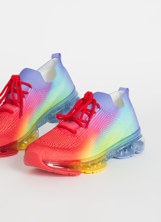 Running Rainbow Ombre Knit Sneakers
