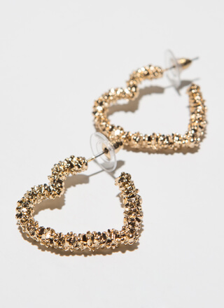 My Heart Popcorn-Textured Hoop Earrings