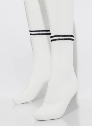 Sport These Sheer Striped Crew Socks