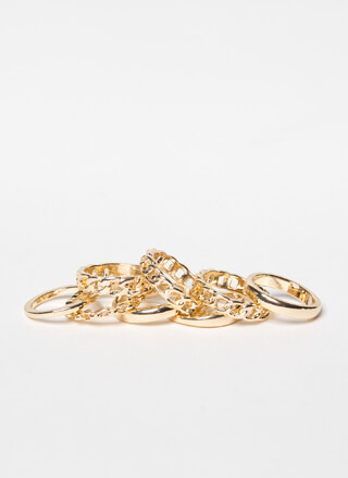 Plain Jane Chain Jane 8-Ring Set