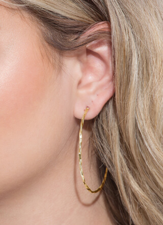 Nice Twist Skinny Partial Hoop Earrings