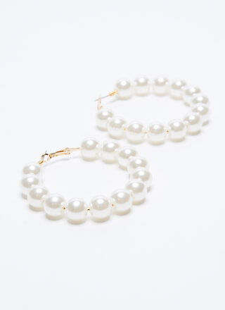 Have A Ball Faux Pearl Hoop Earrings