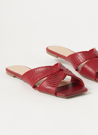 Luxe Lizard Scaled Cut-Out Slide Sandals