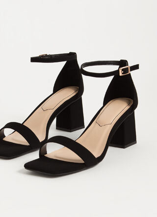 Square Off Faux Nubuck Chunky Heels