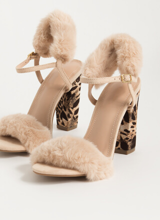 Animal Queendom Faux Fur Cuff Heels