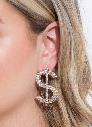My Dolla Sign Rhinestone Earrings