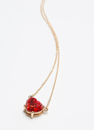 Heart Of Jewels Faux Gem Charm Necklace