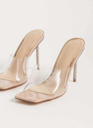 Clear Message Jewel Stiletto Mule Heels