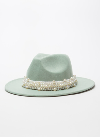 Cool Elegance Felted Faux Pearl Fedora