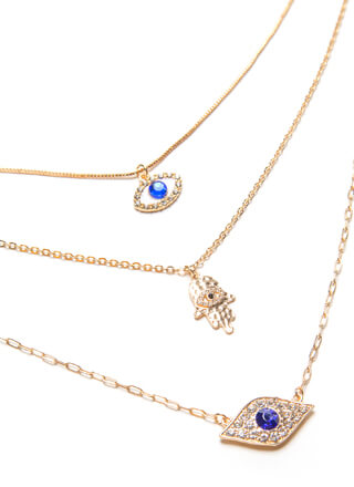 Eye Will Protect You Charm Necklace Set