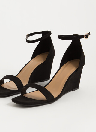 On Your Feet Strappy Faux Suede Wedges