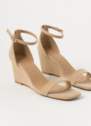 On Your Feet Strappy Faux Nubuck Wedges