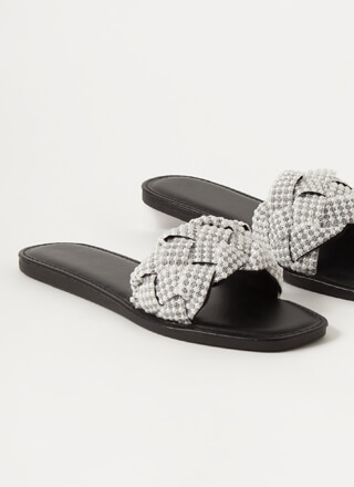 Lace And Pearls Braided Slide Sandals