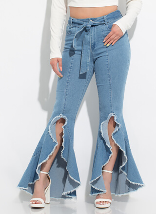 Flare Fringe Fun Tied Bell-Bottom Jeans