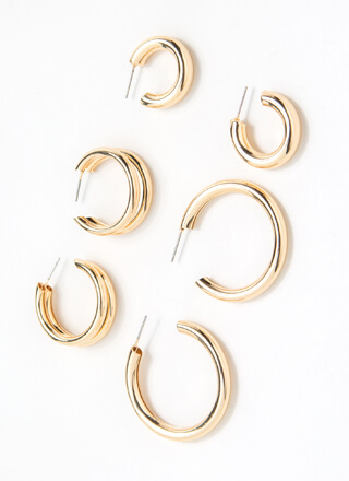 Triple Team 3-Pair Hoop Earring Set
