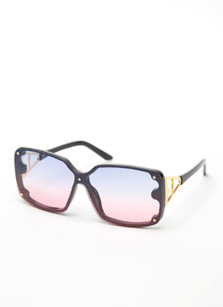 Hype Studded Metallic Accent Sunglasses