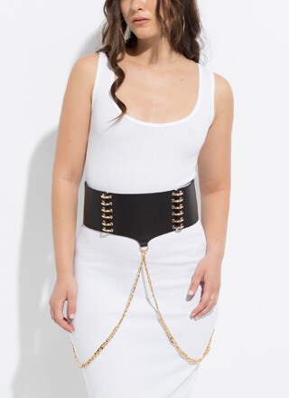 Let It Ring Wide Chained Stretchy Belt