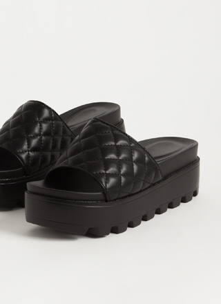 Thick And Quilted Platform Slide Sandals