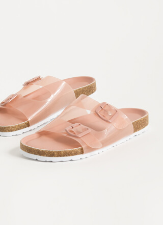 Grown-Up Buckled Jelly Slide Sandals