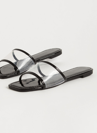 Make It Clear Faux Patent Slide Sandals