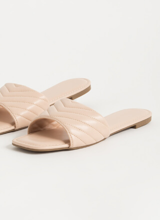 Pick Chevron Faux Leather Slide Sandals