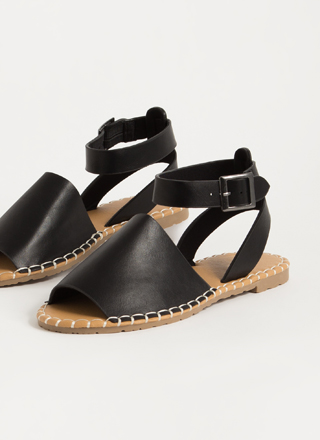 In Stitches Ankle Strap Peep-Toe Sandals