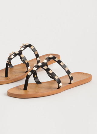 Hey Studs Strappy Caged Thong Sandals