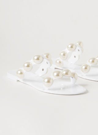 Precious Pearls Jelly Slide Sandals