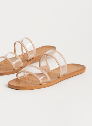On Vacation Clear Strap Slide Sandals