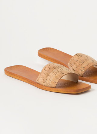 Keep It Simple Cork Slide Sandals