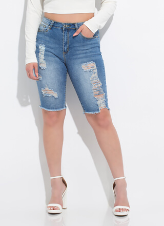 Just Perf Destroyed Denim Bermuda Shorts