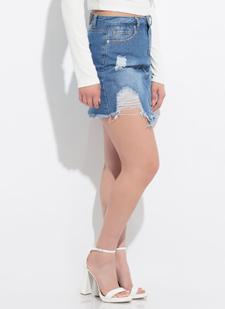 Let It Rip Destroyed Denim Miniskirt