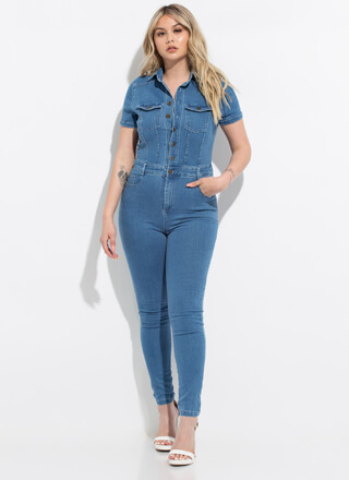 One And Done Button-Up Denim Jumpsuit
