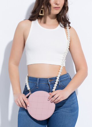 Girl With A Pearl Strap Disc Purse