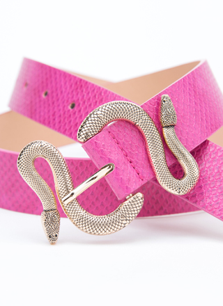Hiss And Hers Scaled Snake Buckle Belt