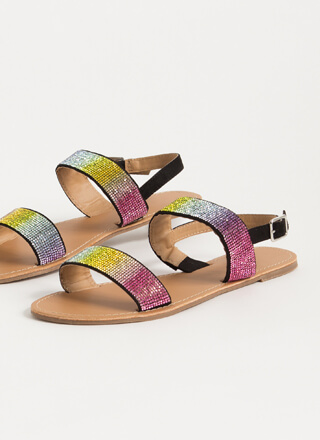 Full Of Sparkle Jeweled Strap Sandals