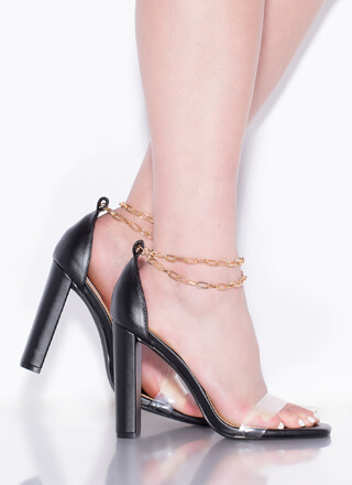 Chained Melody Clear Strap Chunky Heels