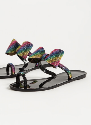 Bows And Rainbows Jeweled Jelly Sandals