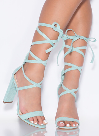 So Stunning Chunky Strappy Lace-Up Heels