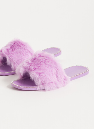 All Fur You Jeweled Jelly Slide Sandals