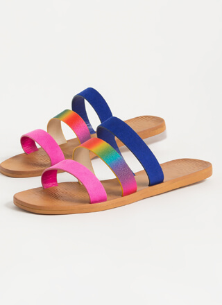 Rainbow Day Triple Strap Slide Sandals