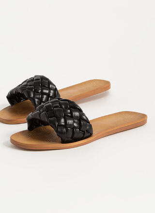 Braids Woven Faux Leather Slide Sandals