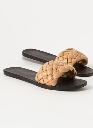 Braids Faux Leather Woven Slide Sandals