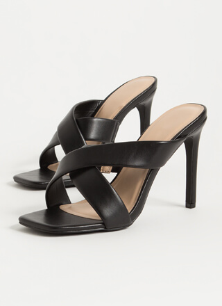You Cross Me Again Strappy Mule Heels