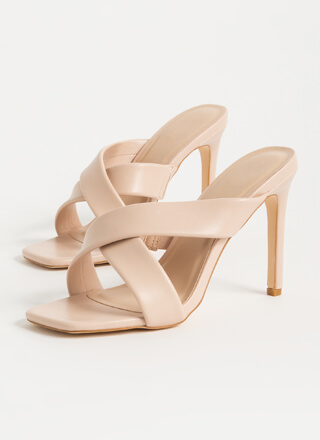 You Cross Me Again X-Strap Mule Heels