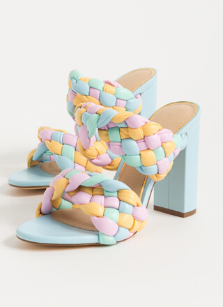 Twist And Weave Colorful Chunky Heels